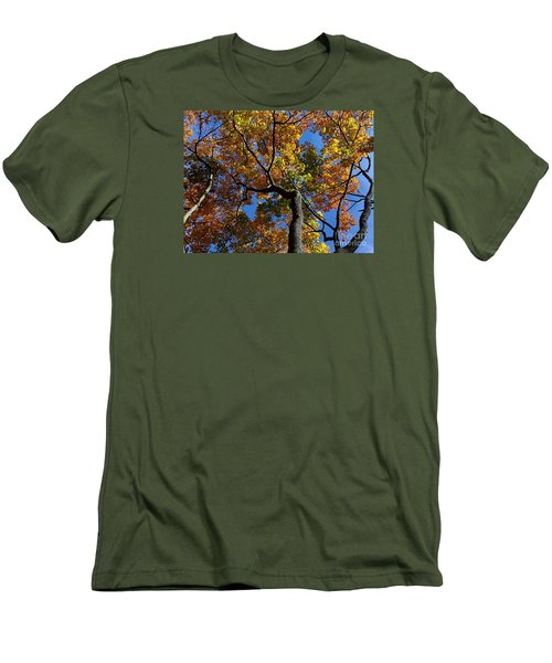 Men's T-Shirt (Slim Fit) featuring the photograph Fall Colorful Trees by Haleh Mahbod