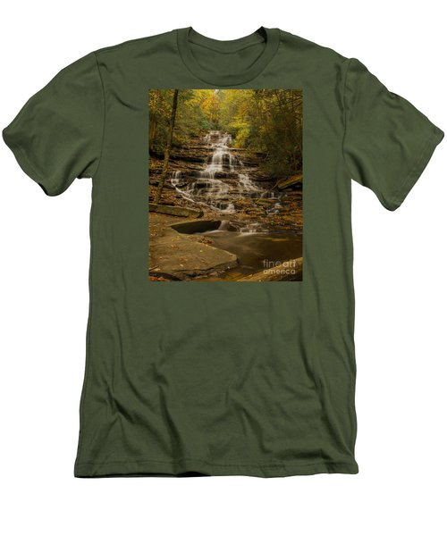 Fall Colors At Minnehaha Falls Men's T-Shirt (Slim Fit) by Barbara Bowen
