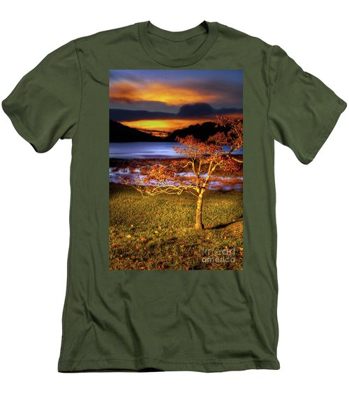 Men's T-Shirt (Slim Fit) featuring the photograph Fall Colors At Sunrise In Otter Blue Ridge by Dan Carmichael