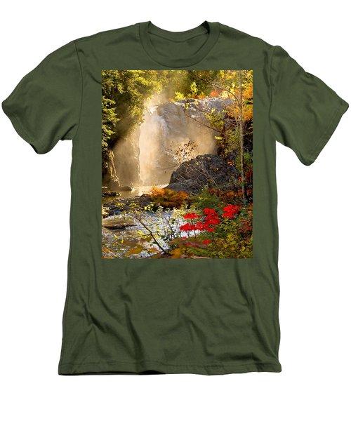 Fall Falls Mist  Dead River Falls  Marquette Mi Men's T-Shirt (Slim Fit) by Michael Bessler