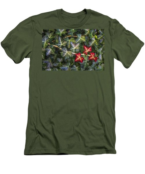 Men's T-Shirt (Slim Fit) featuring the photograph Fall Ivy Leaves by Adam Romanowicz