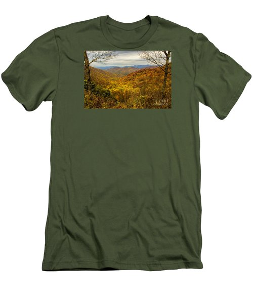 Men's T-Shirt (Slim Fit) featuring the photograph Fall Mountain Overlook by Barbara Bowen
