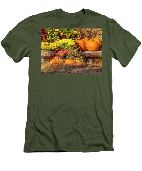 Men's T-Shirt (Slim Fit) featuring the photograph Fall Pumpkins by Carolyn Marshall