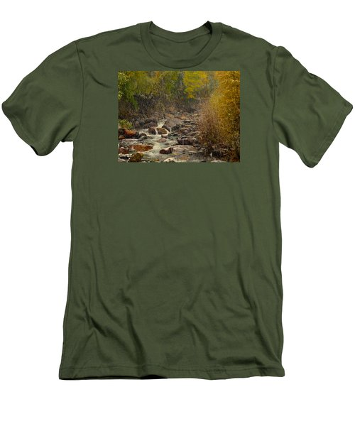 Men's T-Shirt (Slim Fit) featuring the photograph Fall Snow Storm by Laura Ragland