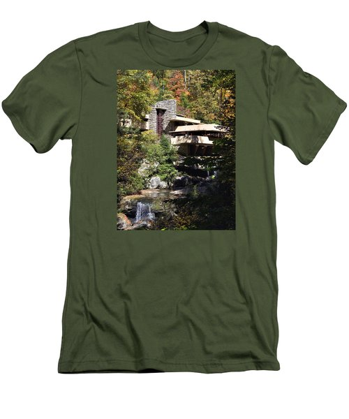 Fallingwater By Frank Lloyd Wright Men's T-Shirt (Slim Fit) by Brendan Reals