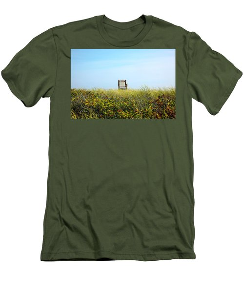 Men's T-Shirt (Slim Fit) featuring the photograph Falmouth Beach Open 9-5 by Madeline Ellis