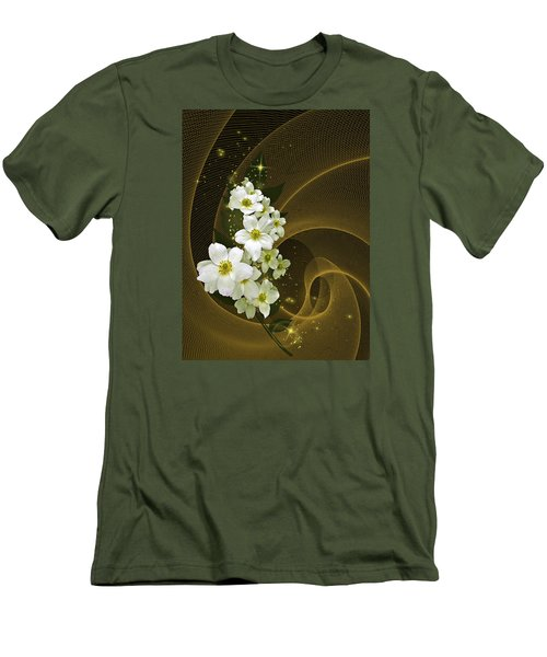 Men's T-Shirt (Slim Fit) featuring the photograph Fantasy In Gold And White by Judy  Johnson