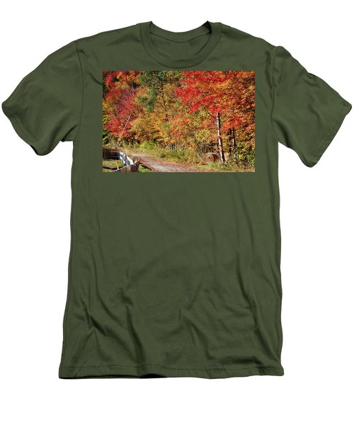 Men's T-Shirt (Athletic Fit) featuring the photograph Farmers Path Of Fall Colors by Jeff Folger