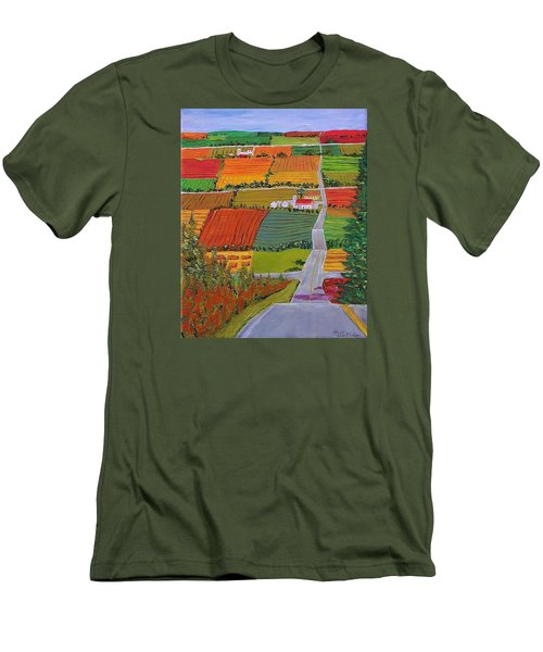 Country Farmland Quilt Men's T-Shirt (Athletic Fit)