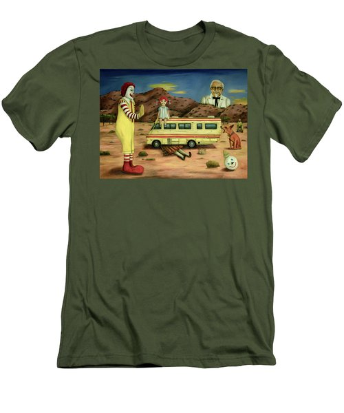 Men's T-Shirt (Slim Fit) featuring the painting Fast Food Nightmare 5 The Mirage by Leah Saulnier The Painting Maniac