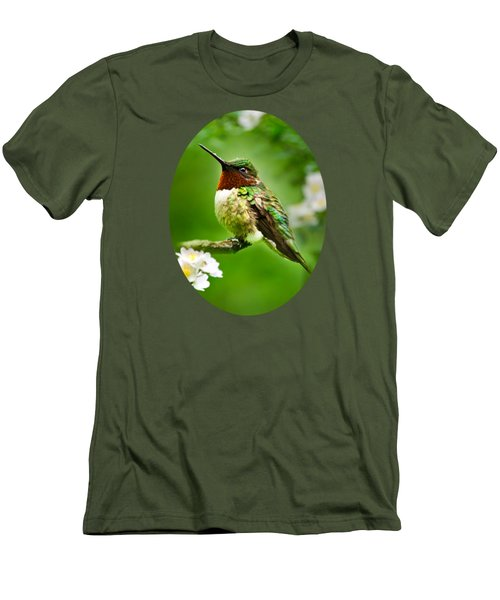 Fauna And Flora - Hummingbird With Flowers Men's T-Shirt (Slim Fit) by Christina Rollo