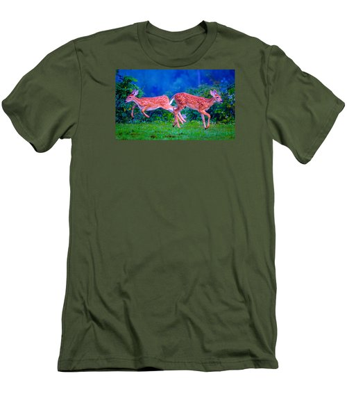 Men's T-Shirt (Slim Fit) featuring the photograph Fawn Frolic by Brian Stevens