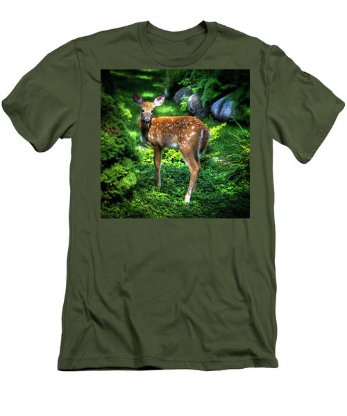 Men's T-Shirt (Athletic Fit) featuring the photograph Fawn In The Garden by David Patterson