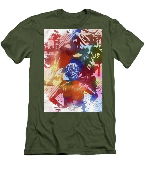 Men's T-Shirt (Slim Fit) featuring the mixed media Fearless Girl Wall Street by Dan Sproul