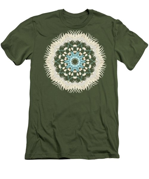 Feathers And Catkins Kaleidoscope Design Men's T-Shirt (Slim Fit) by Mary Machare