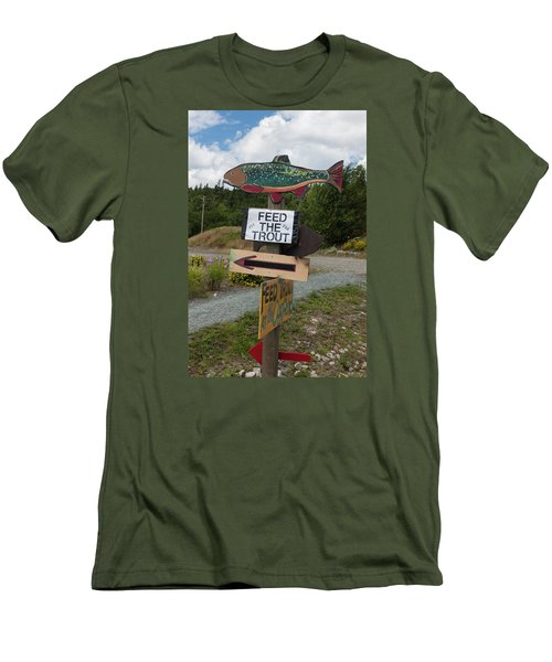 Feed The Trout Men's T-Shirt (Slim Fit) by Suzanne Gaff