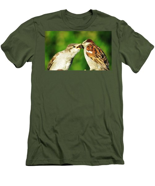 Men's T-Shirt (Slim Fit) featuring the photograph Feeding Baby Sparrow 3 by Judy Via-Wolff