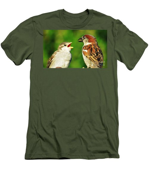 Men's T-Shirt (Slim Fit) featuring the photograph Feeding Baby Sparrows 2 by Judy Via-Wolff