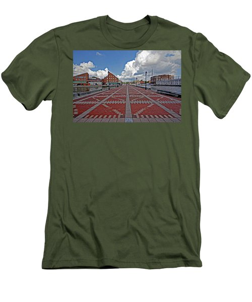 Men's T-Shirt (Slim Fit) featuring the photograph Fells Point Pier by Suzanne Stout