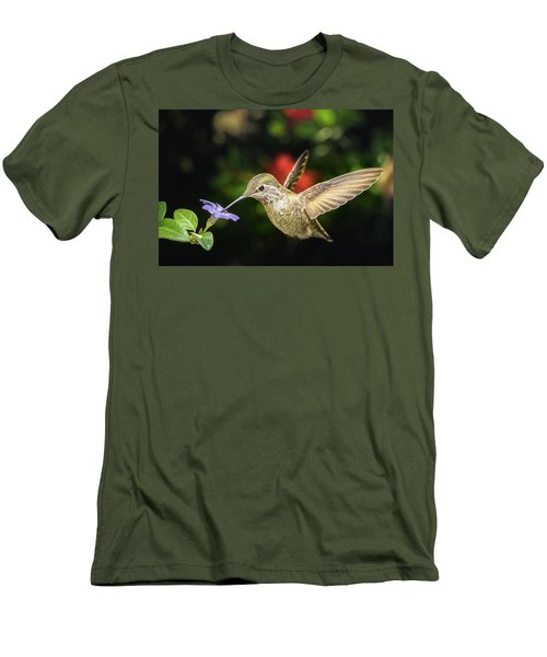 Men's T-Shirt (Athletic Fit) featuring the photograph Female Hummingbird And A Small Blue Flower Left Angled View by William Lee