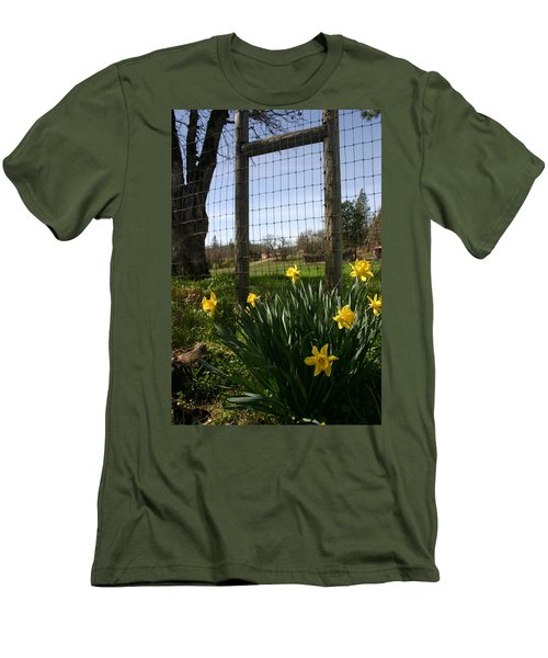 Men's T-Shirt (Slim Fit) featuring the photograph Fence With A View by Marie Neder