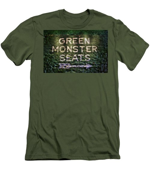 Men's T-Shirt (Athletic Fit) featuring the photograph Fenway Park Green Monster Seats by Joann Vitali