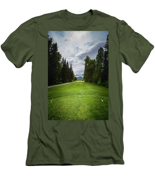 Men's T-Shirt (Slim Fit) featuring the photograph Fernie Tee Box by Darcy Michaelchuk