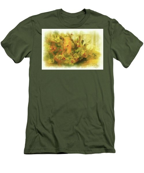 Men's T-Shirt (Slim Fit) featuring the photograph Festive Holiday Candle by Lois Bryan