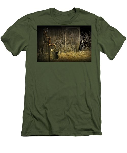Fetching Water From The Old Pump Men's T-Shirt (Slim Fit) by Randall Nyhof