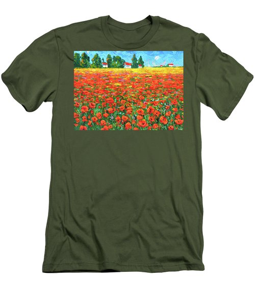 Field And Poppies Landscape Men's T-Shirt (Athletic Fit)