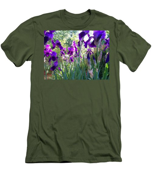 Men's T-Shirt (Slim Fit) featuring the digital art Field Of Irises by Barbara S Nickerson