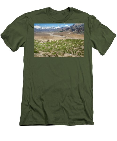 Men's T-Shirt (Athletic Fit) featuring the photograph Fields Of Zangla, Zanskar, 2008 by Hitendra SINKAR