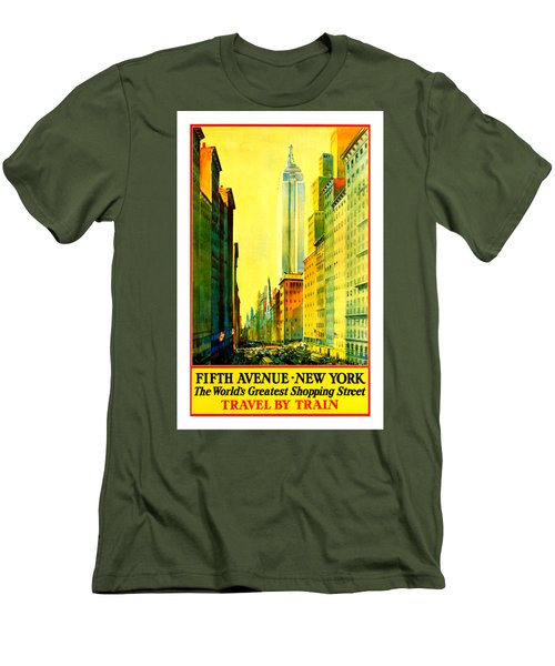 Fifth Avenue New York Travel By Train 1932 Frederick Mizen Men's T-Shirt (Slim Fit) by Peter Gumaer Ogden Collection