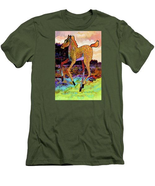 Men's T-Shirt (Slim Fit) featuring the painting Finding His Legs by Bob Coonts