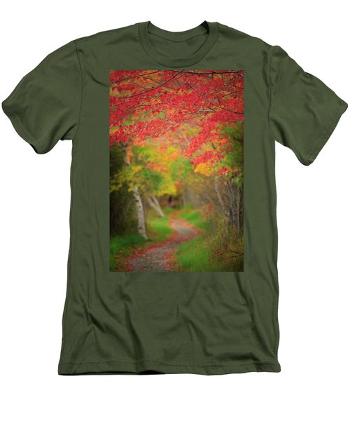 Men's T-Shirt (Slim Fit) featuring the photograph Fire Red Path  by Emmanuel Panagiotakis