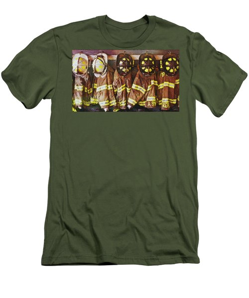 Men's T-Shirt (Athletic Fit) featuring the painting Firefighters Uniforms by Joan Reese