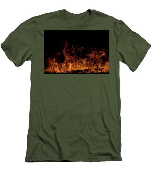 Fireplace Flames On Black Background Men's T-Shirt (Athletic Fit)
