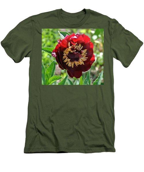 First Peony Bloom Men's T-Shirt (Slim Fit) by Marsha Heiken