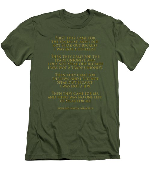 First They Came Men's T-Shirt (Slim Fit) by Mim White