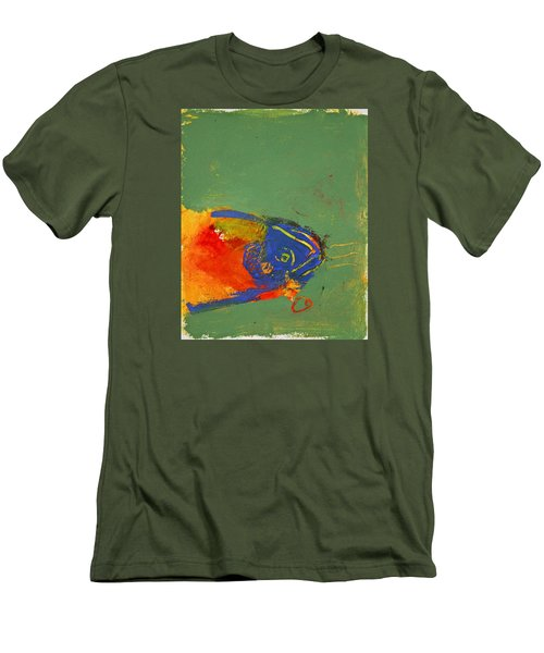 Fish Pondering The Anomaly Of Mans Anamnesis Men's T-Shirt (Slim Fit) by Cliff Spohn