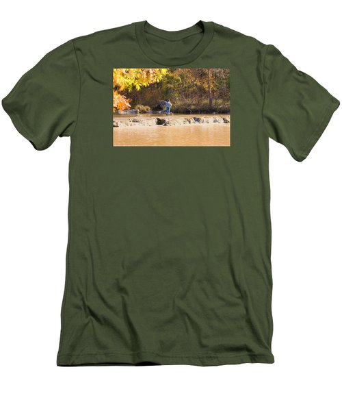 Men's T-Shirt (Slim Fit) featuring the photograph Fishing In Fall by Sheila Brown