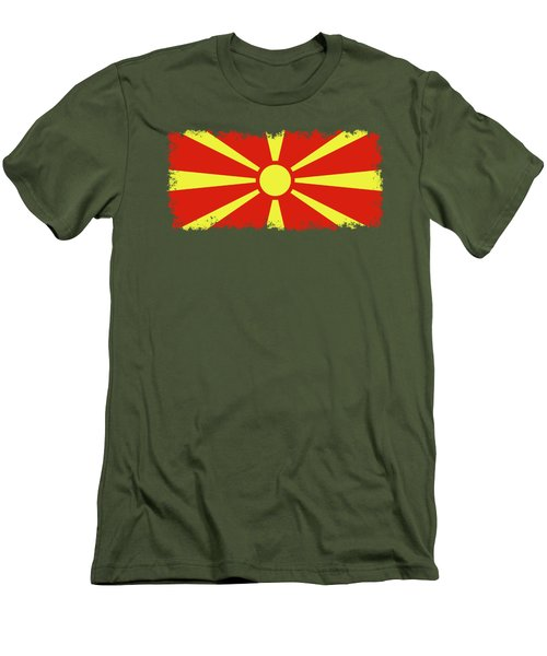 Men's T-Shirt (Slim Fit) featuring the digital art Flag Of Macedonia by Bruce Stanfield
