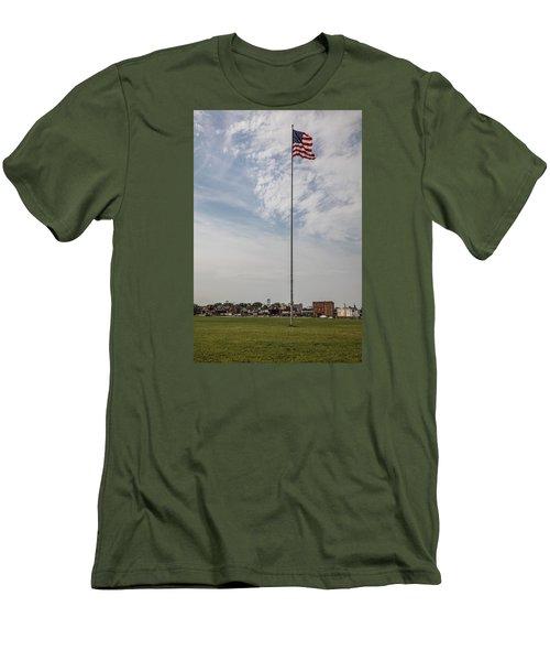 Flag Poll At Detroit Tiger Stadium  Men's T-Shirt (Slim Fit) by John McGraw