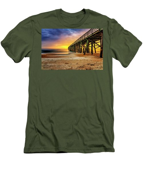Flagler Beach Pier At Sunrise In Hdr Men's T-Shirt (Athletic Fit)