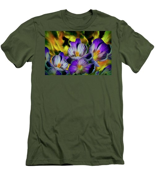 Men's T-Shirt (Athletic Fit) featuring the mixed media Flaming Leaves And Crocuses 10 by Lynda Lehmann