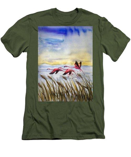 Flamingoes Flight Men's T-Shirt (Athletic Fit)
