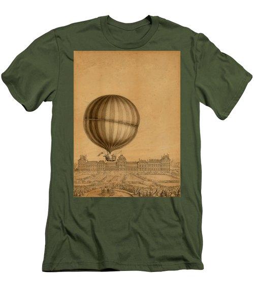 Flight Over Paris Men's T-Shirt (Athletic Fit)
