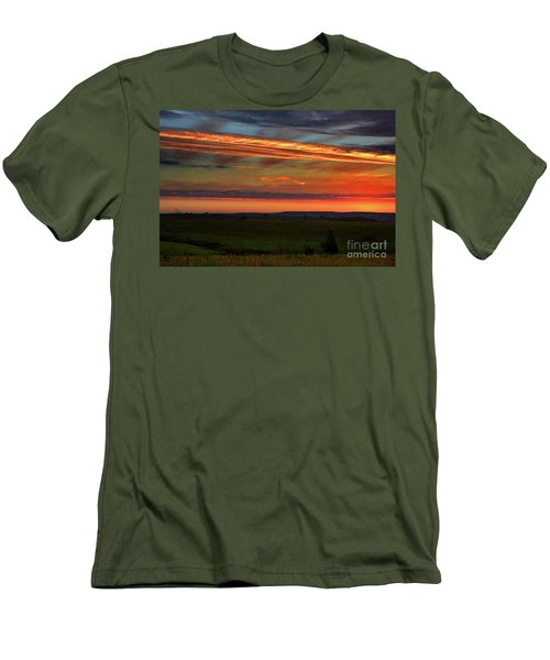 Men's T-Shirt (Slim Fit) featuring the photograph Flint Hills Sunrise by Thomas Bomstad