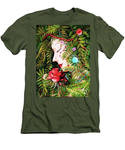 Men's T-Shirt (Slim Fit) featuring the painting Flora-da-vita by Igor Postash