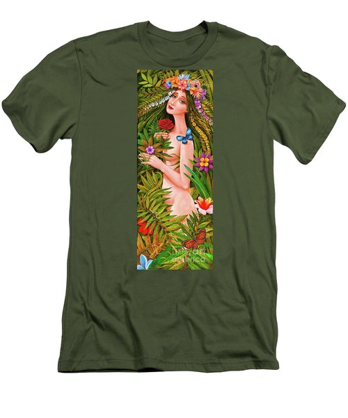 Men's T-Shirt (Slim Fit) featuring the painting Flora by Igor Postash